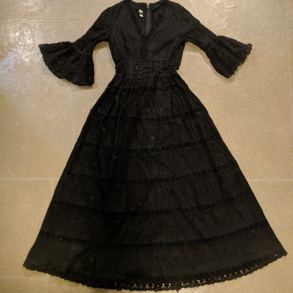 Vintage Mexican Black Lace And Cotton Dress